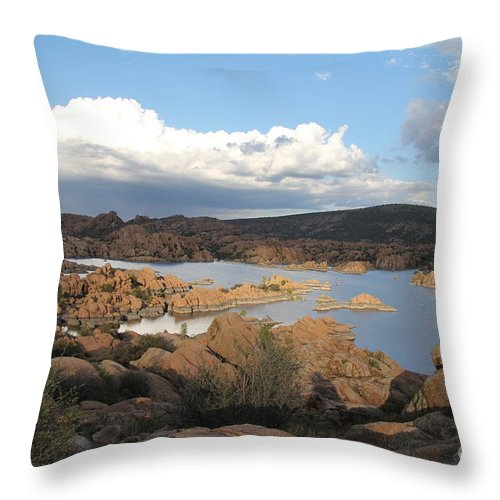 Watson Lake Throw Pillow featuring the photograph Watson Lake 2 by Diane Greco-Lesser
