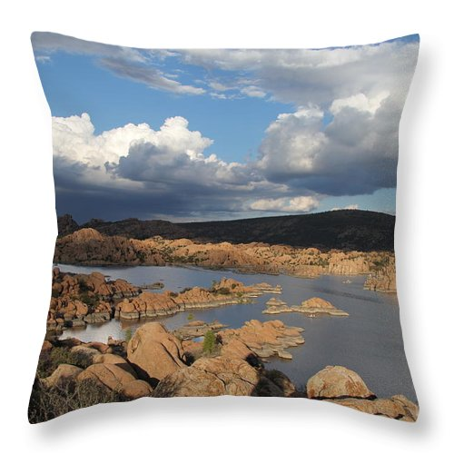 Watson Lake Throw Pillow featuring the photograph Watson Lake 3 by Diane Greco-Lesser