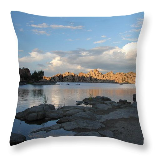 Watson Lake Throw Pillow featuring the photograph Watson Lake 5 by Diane Greco-Lesser