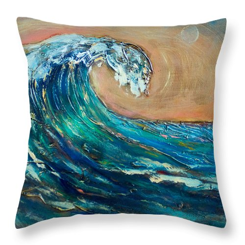 Surf Throw Pillow featuring the painting Wave To The South by Linda Olsen