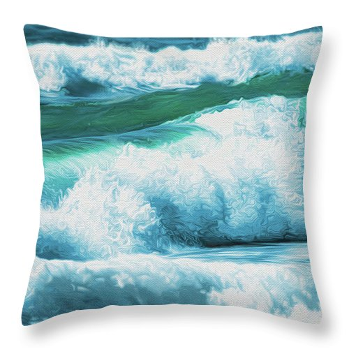 Waves Throw Pillow featuring the digital art Waves by Dale Jackson