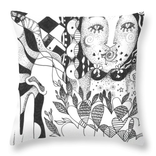 Love Throw Pillow featuring the drawing Ways Of Seeing by Helena Tiainen