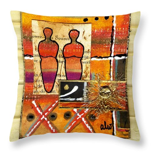Spiritual Throw Pillow featuring the mixed media We Inspire One Another by Angela L Walker