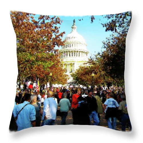 Capital Throw Pillow featuring the digital art We The People by Don Allen