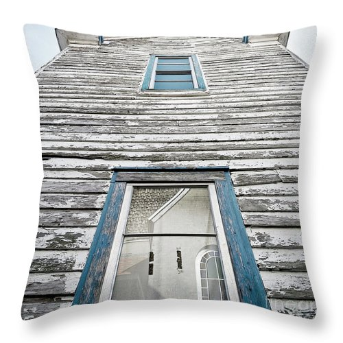 Blue Throw Pillow featuring the painting Weathered Many Storms by Glennis Siverson