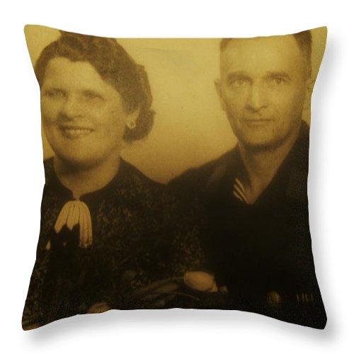Parents Wedding Photograph Throw Pillow featuring the photograph Parents Wedding 1940 by Gunter Hortz