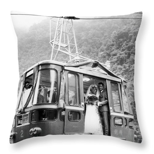 1970 Throw Pillow featuring the photograph Wedding: Cable Car, 1970 by Granger