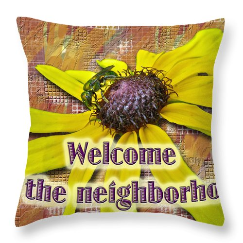 Neighbor Throw Pillow featuring the photograph Welcome New Neighbor Card - Bee And Black-eyed Susan by Mother Nature