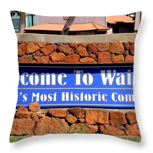 Mary Deal Throw Pillow featuring the photograph Welcome To Waimea by Mary Deal
