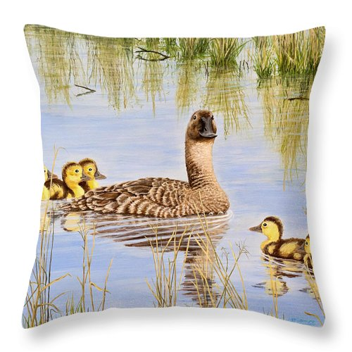 Duck Throw Pillow featuring the painting We're Coming - Canvasback And Brood by Jim Ziemer