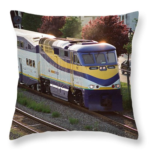 Trains Throw Pillow featuring the photograph West Coast Express by Randy Harris