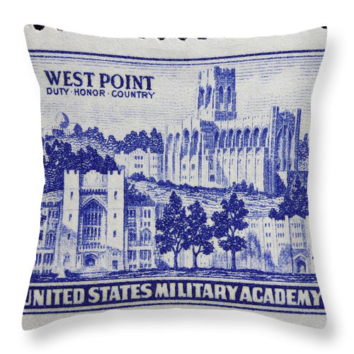 West Point Postage Stamp Throw Pillow featuring the photograph West Point Postage Stamp by James Hill