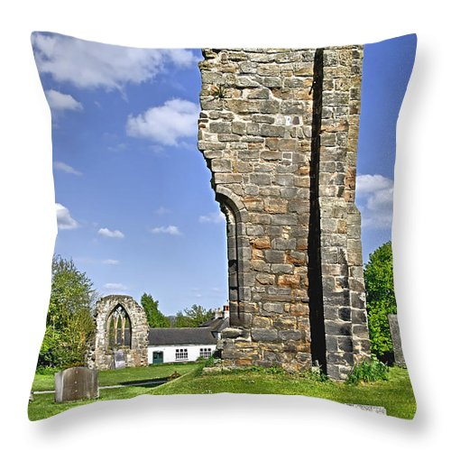 Ticknall Throw Pillow featuring the photograph West Wall Remains - Ticknall Old Church by Rod Johnson