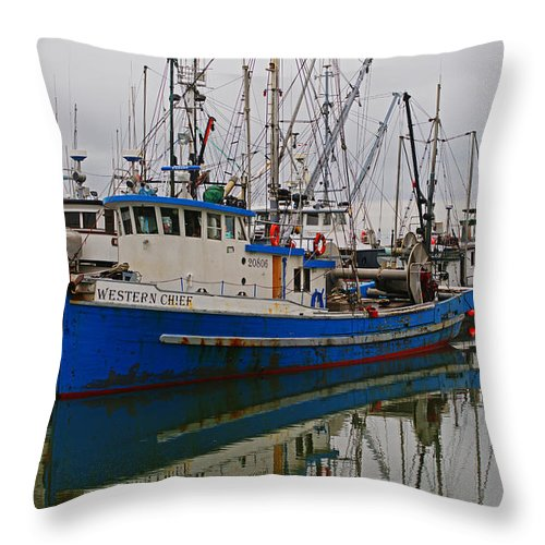 Fishing Boats Throw Pillow featuring the photograph Western Chief by Randy Harris