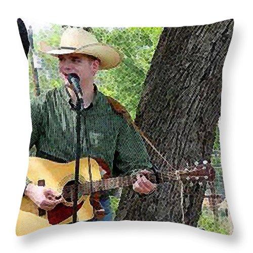 Texas Throw Pillow featuring the photograph Western Guitar by Nina Fosdick