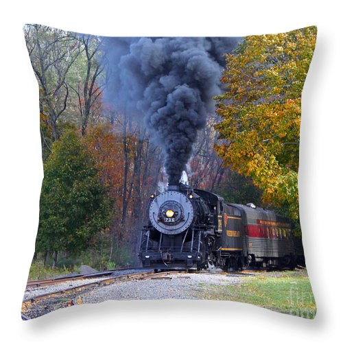 Train Throw Pillow featuring the photograph Western Maryland Steam Train by Jack Schultz