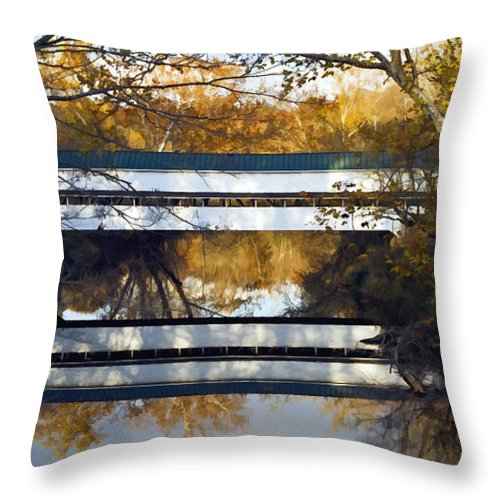 Illustration Throw Pillow featuring the photograph Westport Covered Bridge - D007831a by Daniel Dempster