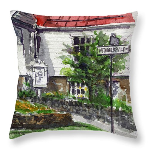 Dickeysville Throw Pillow featuring the painting Wetheredsville Street by John D Benson