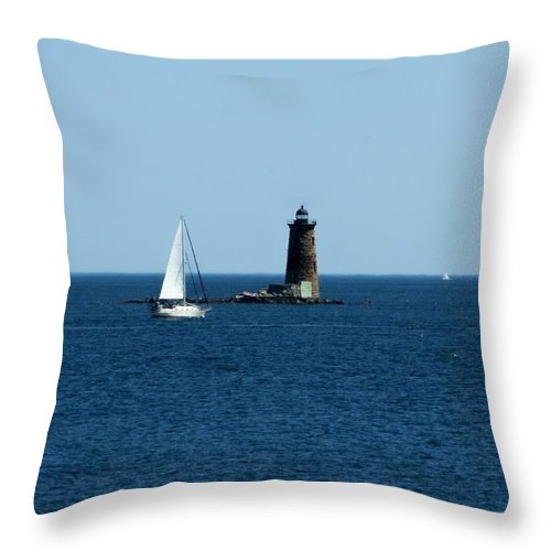 Photography Throw Pillow featuring the photograph Whaleback Lighthouse Kittery Maine by Barbara S Nickerson