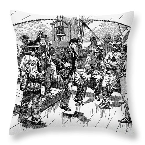 1874 Throw Pillow featuring the photograph Whalers Gamming by Granger
