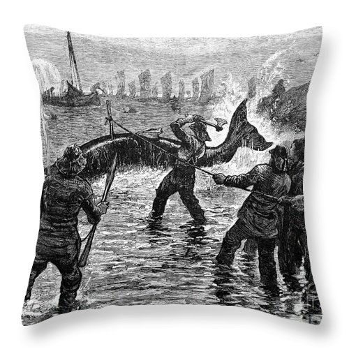 1875 Throw Pillow featuring the photograph Whaling At Shore, 1875 by Granger