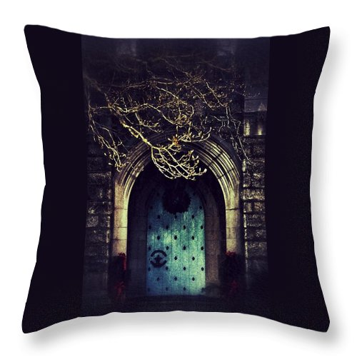 Door Throw Pillow featuring the photograph What Awaits Beyond by Scott Wyatt
