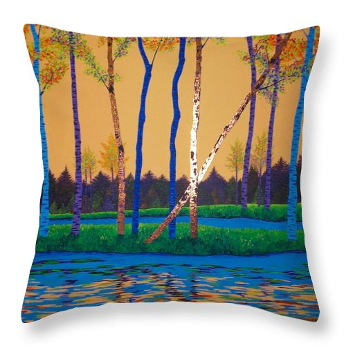 Landscape Throw Pillow featuring the painting When Autumn Leaves by Randall Weidner