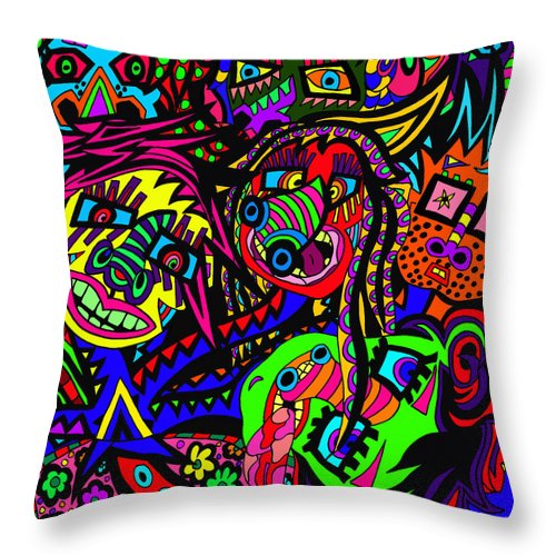 Crowds Throw Pillow featuring the painting When Multiple Heads Are Needed by Karen Elzinga