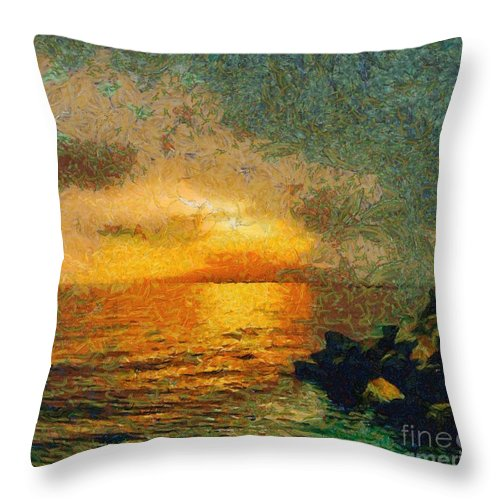 Seascape Throw Pillow featuring the painting When The Sun Mets The Sea by Dragica Micki Fortuna