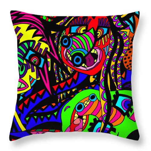 Joncrowds Throw Pillow featuring the painting Where Are We by Karen Elzinga