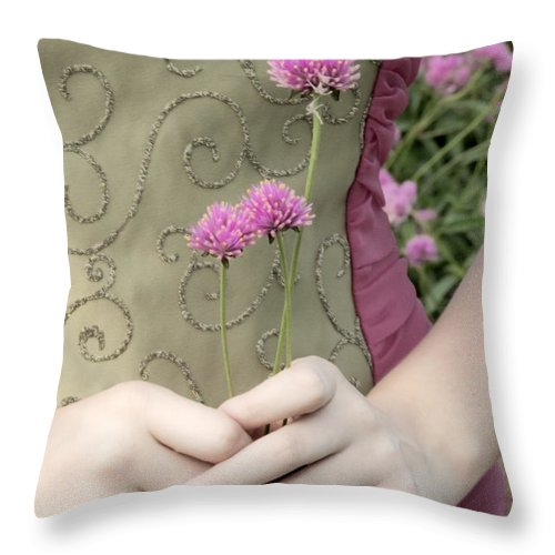 Girl Throw Pillow featuring the photograph Where Have All The Flowers Gone by Angelina Vick