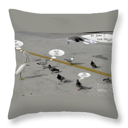 Birds Throw Pillow featuring the photograph Where The Beef by Donna Brown