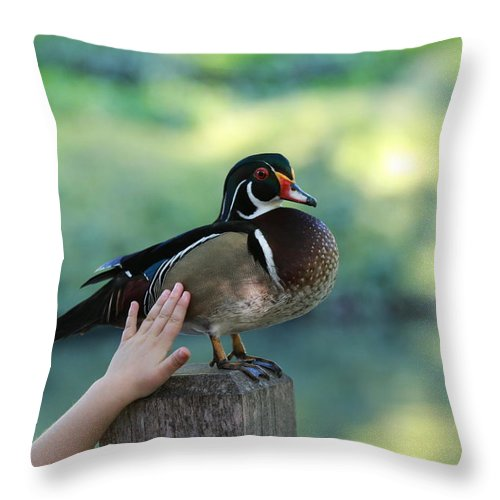Wood Duck Throw Pillow featuring the photograph Where The Wild Things Are by Elizabeth Hart