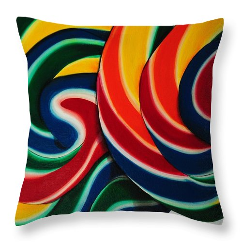Food Throw Pillow featuring the painting Whirly Pop 2 by Andrea Nally