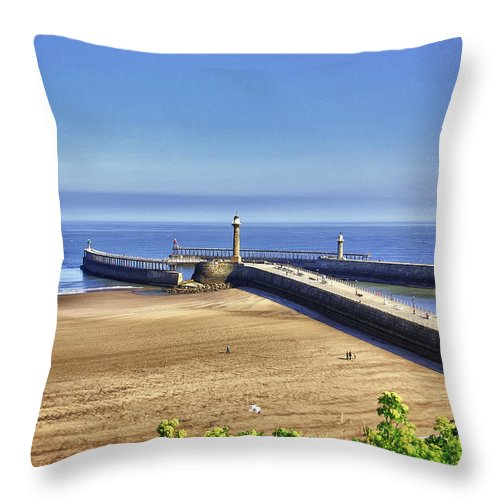 Whitby Throw Pillow featuring the photograph Whitby Harbour View by Trevor Kersley