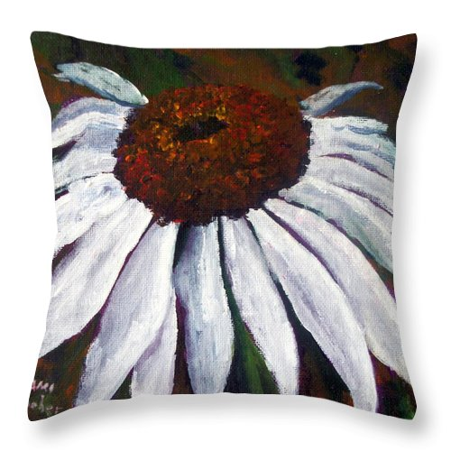 Cone Flower Throw Pillow featuring the painting White Cone by Tami Booher