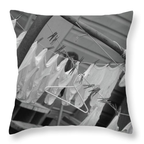Cotton Laundry Throw Pillow featuring the photograph White Cotton Laundry Blowing In The Wind by Michelle Powell