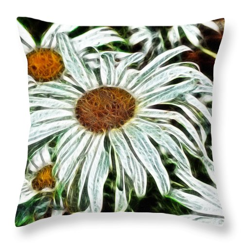 White Daisies Throw Pillow featuring the painting White Daisies by Methune Hively