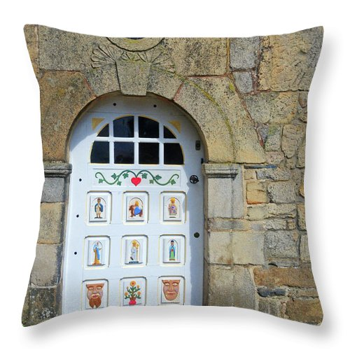 White Door Throw Pillow featuring the photograph White Door Provence France by Dave Mills