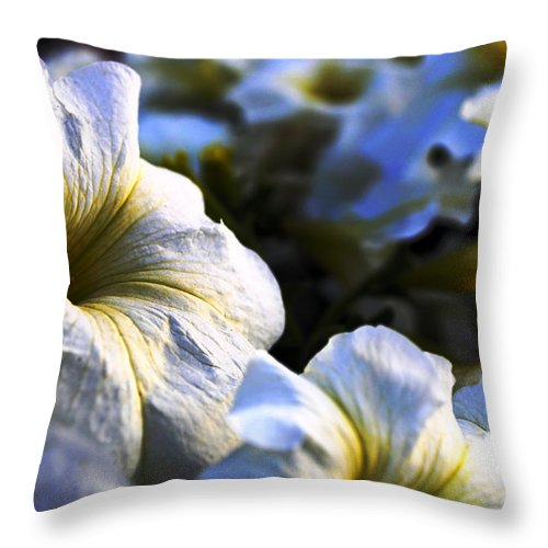 Flowers Throw Pillow featuring the photograph White Flowers At Dusk 2 by Sumit Mehndiratta