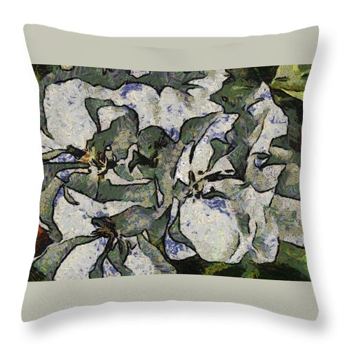 Santa Throw Pillow featuring the digital art White Geraniums  -- Vangogh by Charles Muhle