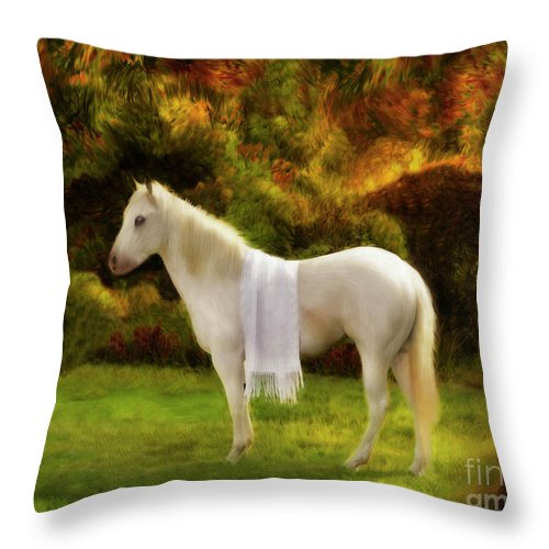 White Horse Throw Pillow featuring the painting White Horse Golden Hour by Constance Woods