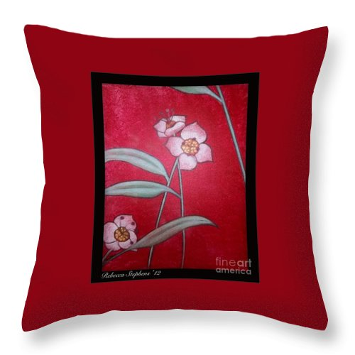 Rebecca Stephens Throw Pillow featuring the painting White Lotus Bottom by Rebecca Stephens