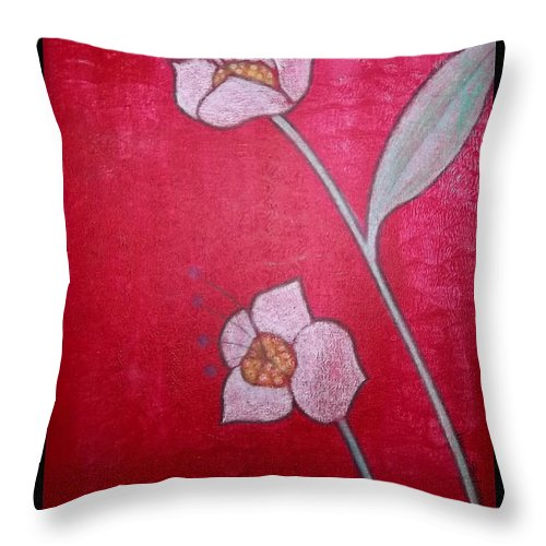 Rebecca Stephens Throw Pillow featuring the painting White Lotus Top by Rebecca Stephens