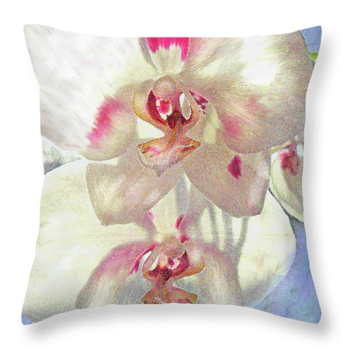 Orchid Throw Pillow featuring the digital art White Orchid by Jane Schnetlage
