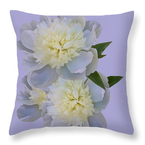 Flowers Throw Pillow featuring the photograph White Peonies On Lavender by Delores Knowles