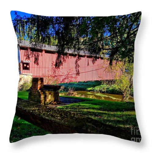 American Throw Pillow featuring the photograph White Rock Bridge by Nick Zelinsky