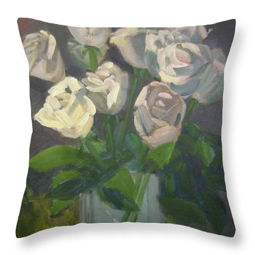 Floral Throw Pillow featuring the painting White Roses by Lilibeth Andre
