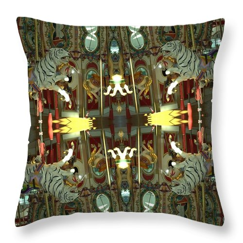 Tiger Throw Pillow featuring the photograph White Tiger Carousel 2 by Donna Brown