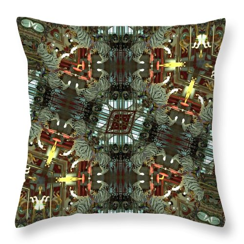 Tiger Throw Pillow featuring the photograph White Tiger Carousel by Donna Brown